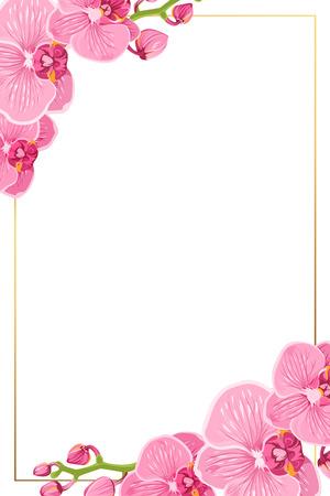 Rosa lila helle exotische Orchideen-Phalaenopsis-Blumen. Glänzende goldene vertikale Porträtrandrahmenschablone mit verzierten Ecken. Vektor-Gestaltungselement für Einladungsgrußkarte.