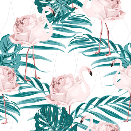 Exotic pink flamingo birds rose flowers concept illustration. Tropical jungle forest green palm tree leaves. Seamless pattern texture for fashion, fabric, textile. Fish net ornament white background.