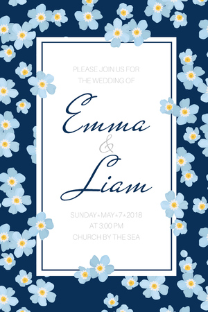 Wedding event invitation card template. Rectangular border frame decorated with sky blue forget-me-not myosotis flowers inflorescence. Navy blue background. Vertical portrait layout. Text placeholder.