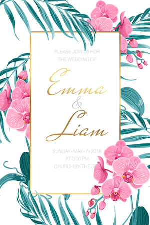Wedding marriage invitation card template. Pink purple orchid phalaenopsis flowers. Exotic tropical jungle green palm tree leaves. Border frame golden text placeholder. Vertical portrait layout. Illusztráció