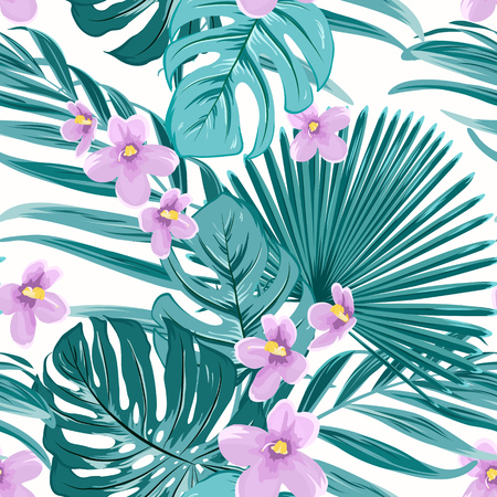 Exotic tropical floral greenery seamless pattern texture. Green jungle palm tree mostera coconut leaves. Violet purple flowers. Vector design illustration for fashion, textile, fabric, wrapping. Stock fotó - 103113762