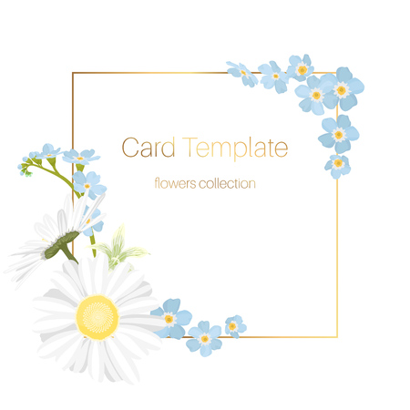 Floral spring summer card template. Square border frame decorated with daisy chamomile blue forget-me-not wild field flowers in pastel colors on white background. Shiny golden text placeholder.
