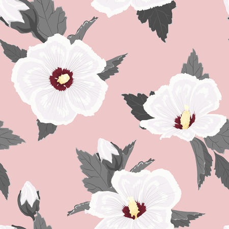Hibiscus flowers buds leaves. Seamless floral pattern texture on light pink crimson background. Exotic tropical spring summer botanical vector illustration for fashion, textile, fabric, decoration.