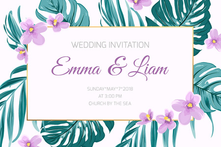 Wedding event invitation card template. Border frame decorated with exotic tropical floral greenery. Green mostera jungle palm tree leaves. Purple violet viola flowers in corners. Text placeholder.