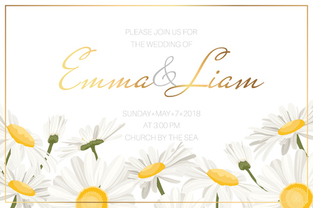 Wedding event invitation card template. Daisy chamomile wild field autumn summer spring flowers border frame. Floral design template golden frame text placeholder. Horizonatal landscape aspect ratio. Иллюстрация