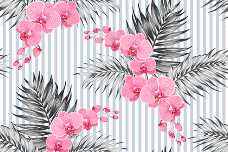 Pink purple orchid phalaenopsis exotic bright flowers with tropical jungle palm tree leaves. Greyscale contrast background with vertical stripes. Seamless pattern texture for fashion, textile, fabric.