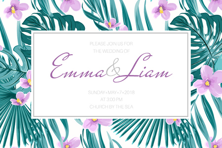 Wedding marriage invitation card template. Border frame decorated with exotic tropical floral greenery. Green monstera jungle palm coconut tree leaves. Violet purple viola flowers. Horizontal layout.