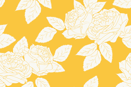 Peonies rose line sketch drawing floral seamless pattern. White on bright yellow orange background. Flowers leaves bouquet garland bloom blossom. Vector design illustration. Vettoriali
