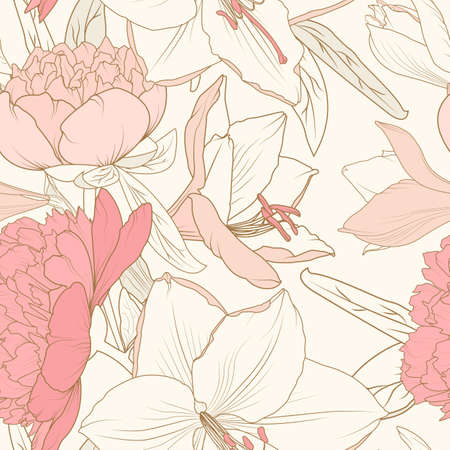 Peony lily flowers composition bouquet seamless pattern. Realistic detailed line drawing. Pink crimson sepia warm vintage colors. Floral botanical vector design illustration. Victorian style.