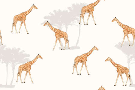 Giraffe cartoon style realistic character drawing. Exotic tall animals. Palm trees. White background. Seamless pattern texture. Africa nature park reserve zoo safari. Vector design illustration. Vettoriali