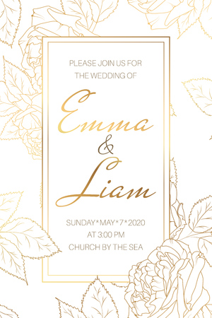 Wedding marriage event invitation card template. Elegant stylish peony rose garden flowers. Detailed outline drawing. Rectangular border frame with text placeholder. Luxury bright shiny golden style.