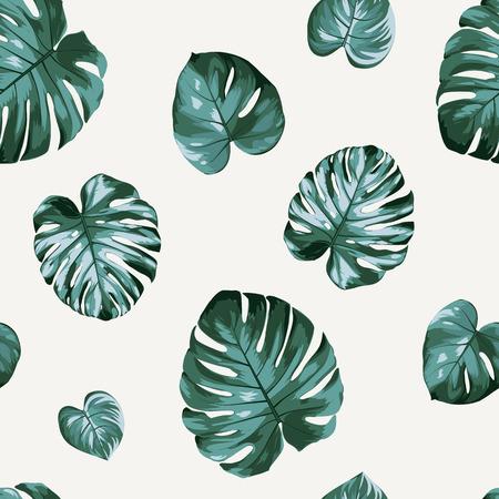 Floral seamless pattern green split-leaf monstera Philodendron plant on beige background. Banco de Imagens