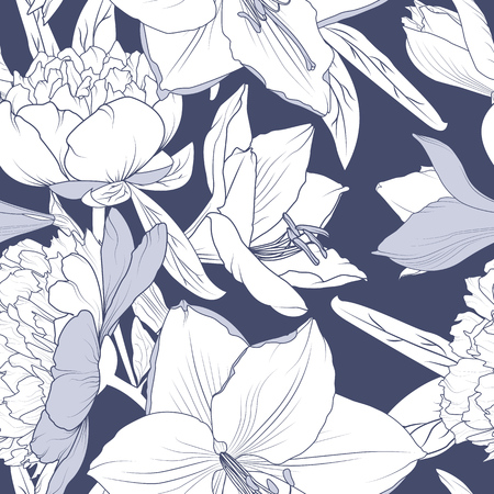 Floral seamless pattern. Lily peony flowers realistic detailed outline sketch drawing. Deep blue violet background. Botanical vector design illustration for fashion, textile, fabric, decoration.