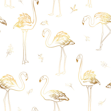 Exotic tropical flamingo birds mistletoe elements seamless pattern. Bright shiny golden colors on white background. Christmas xmas new year holidays party theme. Vector illustration decoration fabric.