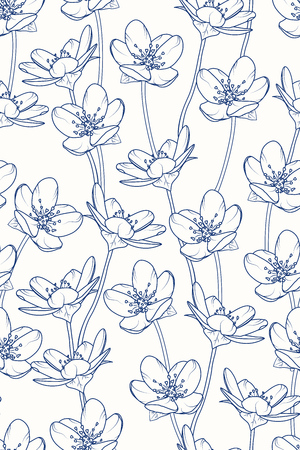 Sakura tree cherry blossom floral vertical seamless pattern. Dark navy blue line design. Spring japanese chinese vintage retro style. Vector design illustration.