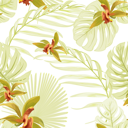 Seamless floral tropical pattern. Cattleya orchid phalaenopsis flowers. Exotic light green leaves jungle palm tree monstera. Beautiful foliage background wallpaper. Vector design illustration.