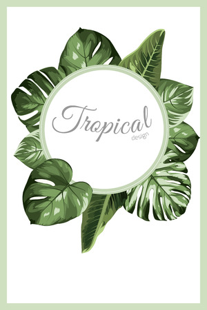 Exotic tropical greenery decoration round circle wreath design element. Monstera philodendron jungle palm rainforest tree leaves. Text placeholder. Border frame template decoration banner promo. Vettoriali