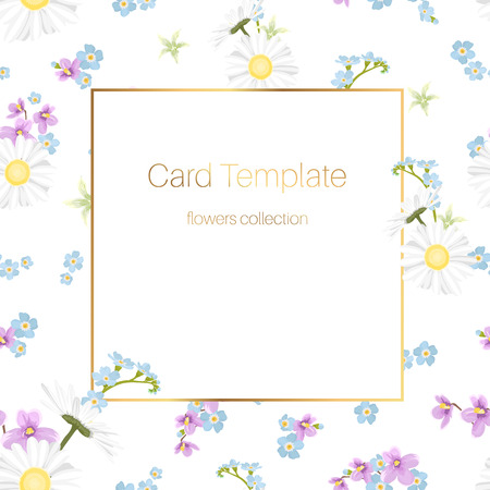 Floral collection card template. Daisy chamomile, blue forget-me-not, purple violet viola bloom blossom. Rectangular square border frame. Fresh wild field meadow flowers mix on white background. Ilustracja