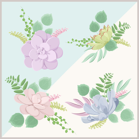 Vector floral bouquet design. Tender pastel blue green pink purple colors succulent echeveria stone rose flowers. Isolated design elements collection set. Wedding event table decoration.