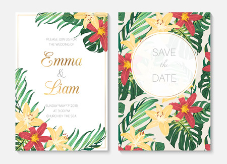 Tropical botanical garden wedding invitation card template. Exotic tropical jungle rainforest green palm tree monstera leaves bright colorful lily flowers on white background. Golden text placeholder. Ilustracja