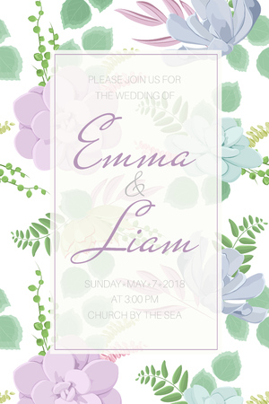 Echeveria stone rose succulent flowers fern greenery. Wedding event invitation card template. Green blue pink purple warm elegant tender pastel colors. Text placeholder. Rectangular border frame. Ilustracja
