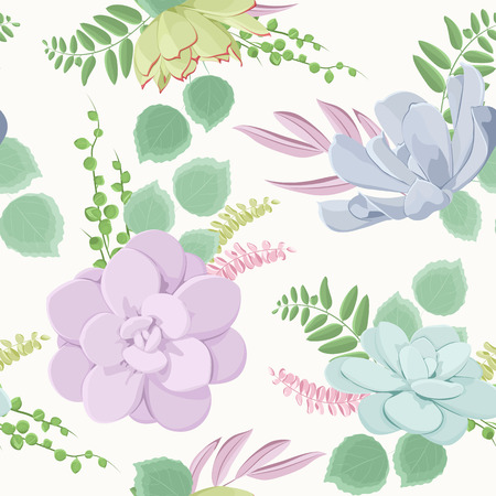 Beautiful succulent flowering plants composition seamless pattern texture. Echeveria stone rose flowers. Purple blue green warm pastel colors on white background. Vector design illustration.