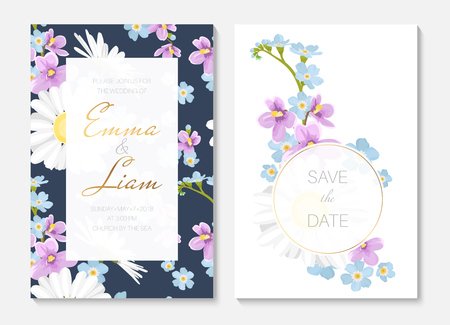Wedding invitation card template set. Round and rectangular border frame decorated yellow white daisy chamomile blue forget-me-not purple viola flowers. Text placeholder. Navy blue white background.