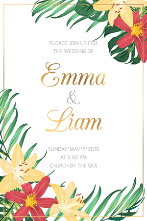 Wedding marriage event invitation card template. Red yellow lilly lily flowers green exotic tropical monstera palm tree leaves. Shiny golden text placeholder. White background. Vertical portrait.