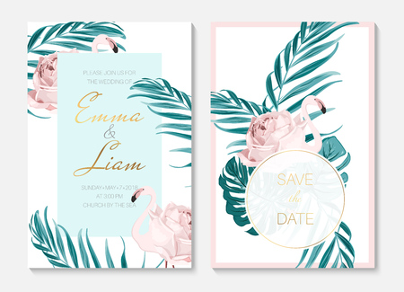 Wedding event invitation cards template set. Exotic pink flamingo birds. Body shape as rose flower concept. Tropical jungle forest green palm tree leaves. Vertical portrait. Shiny text placeholder. Ilustrace