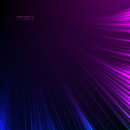 Abstract background neon lights. Blue purple lines. Luminous energy glow ray trace glitter. Digital tech future concept. Vector design illustration. Black background. Ilustracja