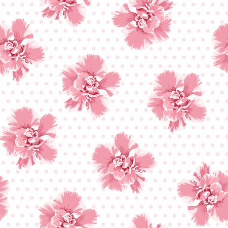 Pink camelia flowers seamless pattern. Tree petals bloom blossom. Female feminine girlish style. Polka dot background. Vector illustration for fashion, fabric, textlile, decoration. Ilustracja