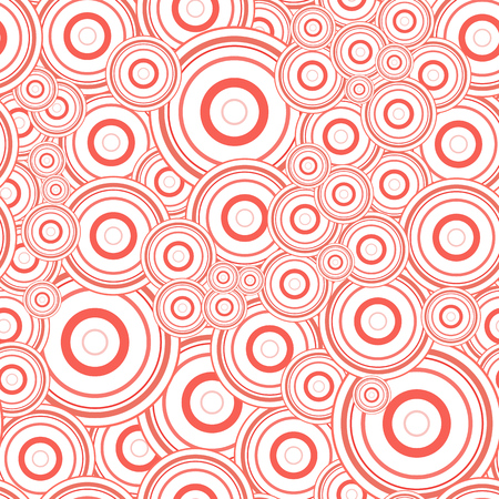 Abstract round concentric orbital speaker circles. Seamless pattern texture. Bright red crimson on white background. Random ring ball target size overlap. Geometric vector design illustration.