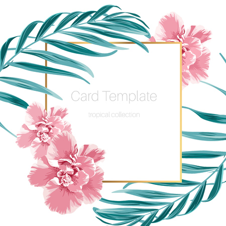 Exotic camelia flowers and green tropical jungle palm tree leaves. Border frame card banner flyer template. Text placeholder. Clean white background. Vector design illustration. Ilustracja