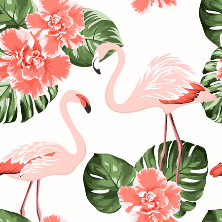 Bright crimson camelia flowers, exotic pink flamingo birds, tropical monstera philodendron green leaves. Trendy seamless pattern on white background.