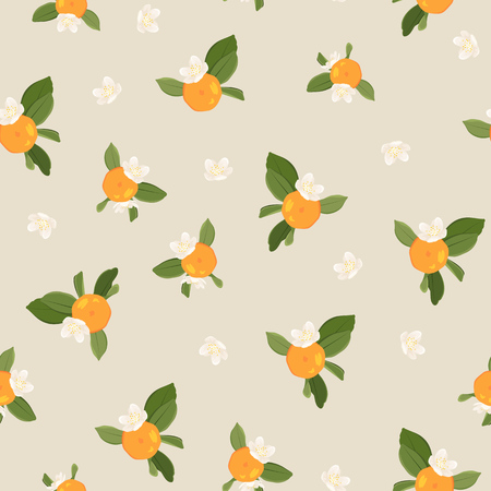Seamless pattern with orange mandarin tangerine flowers and leaves on beige background. Vector color illustration. Ilustracja