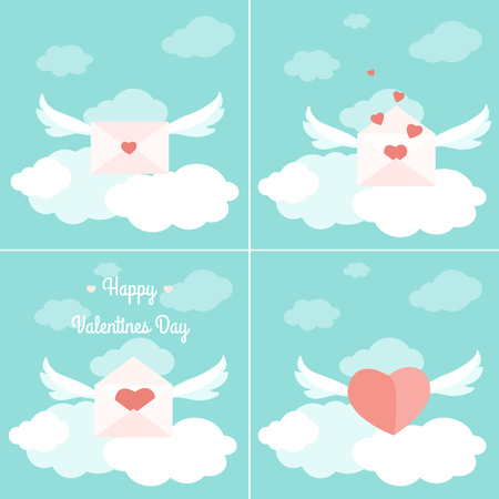 Valentine day greetings delivery concept set. Flying love letter envelopes with wings filled with red heart shapes. Bright blue sky with fluffy clouds. Artistic flat design vector illustration. Ilustrace