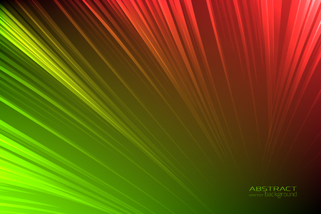 Abstract background glow neon green, red light lines. Energy flash luminous glow ray trace glitter. Digital technology futuristic style. Vector design illustration.