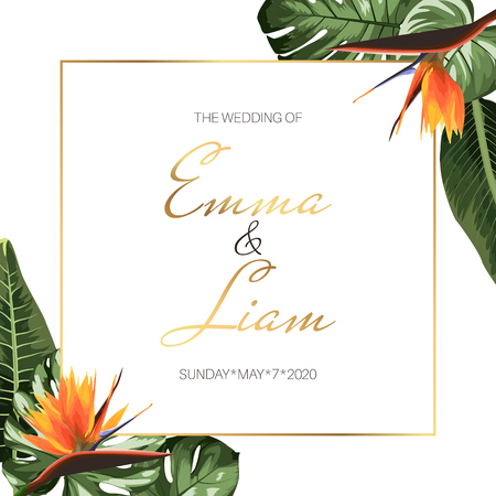 Tropical exotic wedding event invitation card template design. Square border frame green jungle palm tree monstera leaves, orange strelitzia bird paradise flowers. Corner decoration. Text placeholder.