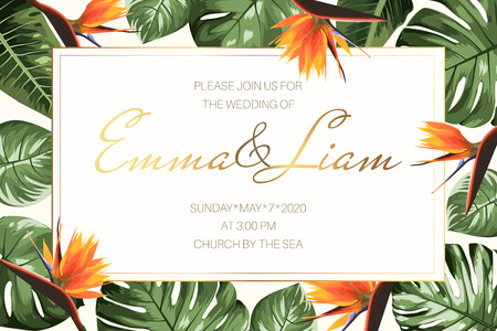 Wedding event invitation RSVP card template. Horizontal rectangular border frame with green monstera philodendron split leaves and bright orange strelitzia bird of paradise flowers. Luxury style.