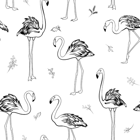 Exotic tropical flamingo birds mistletoe elements seamless pattern. Black on white background. Christmas xmas new year holidays party theme. Vector illustration decoration fabric. Ilustrace