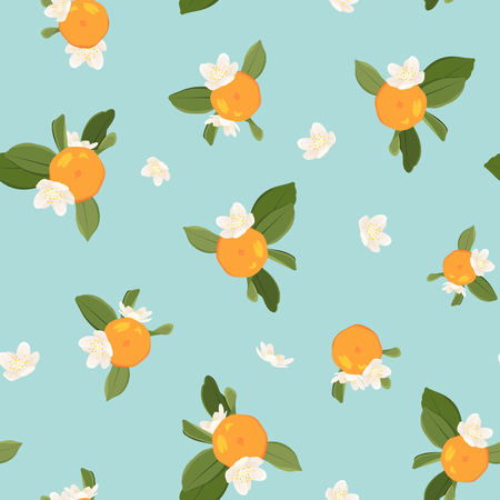 Seamless pattern with orange mandarin tangerine flowers and leaves on blue background. Vector color illustration.