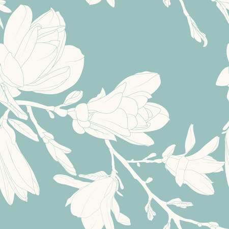 Magnolia flowers leaves tree branch. Seamless pattern texture. White on teal blue background. Vintage outline drawing. Vector design illustration for fashion, textile, fabric, decoration. Ilustrace