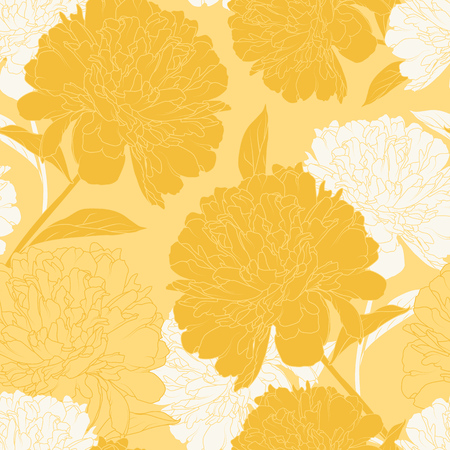 Yellow beige peony rose flowers elegant beautiful vector floral spring summer pattern texture background. Detailed line drawing. Vector design illustration for decoration, fashion, textile, fabric.
