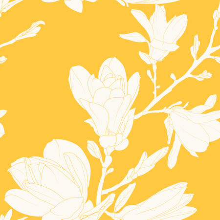 Magnolia flowers leaves tree branch. Seamless pattern texture. Beige on yellow background. Vintage outline drawing. Vector design illustration for fashion, textile, fabric, decoration.