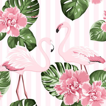 Exotic pink flamingo birds couple. Bright camelia flowers. Tropical monstera philodendron green leaves. Trendy seamless pattern with vertical stripes background. Vector design illustration. Ilustrace