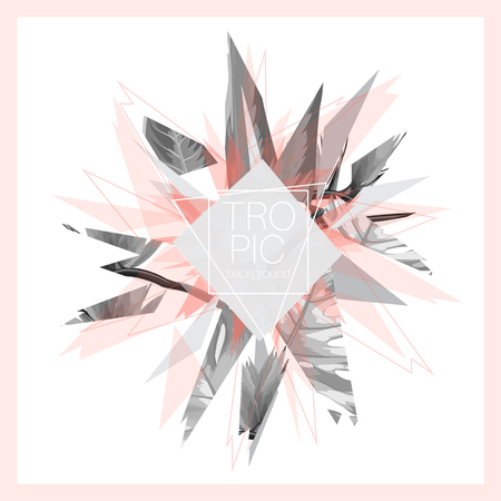 Tropic leaves pink grey black white abstract design explosion pieces. Exotic futuristic digital vector minimal design. Cover, banner, card, promo template.