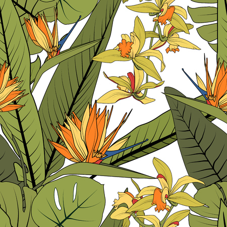 Bright tropical summer greenery floral abstract seamless pattern. Exotic orange strelitzia bird of paradise orchid phalaenopsis flowers green leaves on white background. Botanical vector illustration.