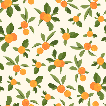 Orange tangerine mandarin clementine green leaves seamless pattern on beige background. Organic bio healthy food harvest. Exotic tasty juicy ripe fruit. Vector design illustration. Ilustrace