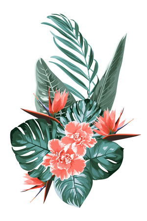 Tropical floral greenery wedding bouquet composition. Bunch of bright pink red camelia bird of paradise flowers. Green monstera jungle palm tree leaves. Isolated and editable.