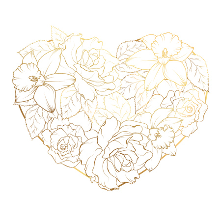 Heart of flowers gold. Greeting elements for design. Daffodils, narcissus, rose on white background.